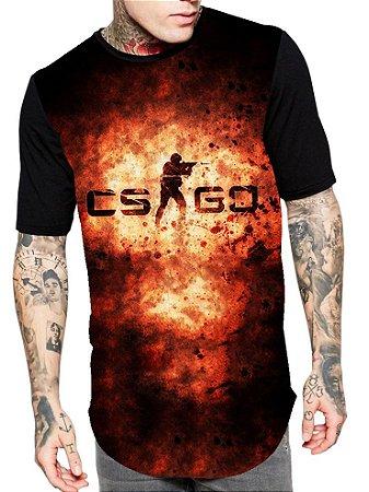 Camiseta Longline Estampa Full Cs Go Game JogO