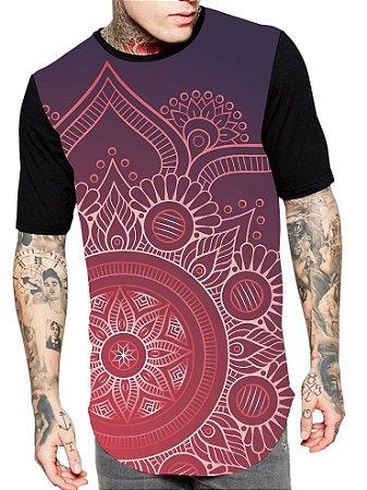 Camiseta Camisa Longline Estampa Full Mandala Unissex