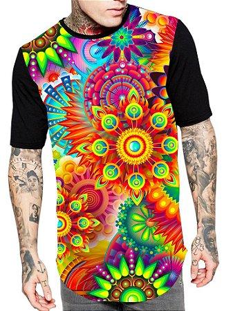 Camiseta Camisa Longline Estampa Full Mandalas Unissex