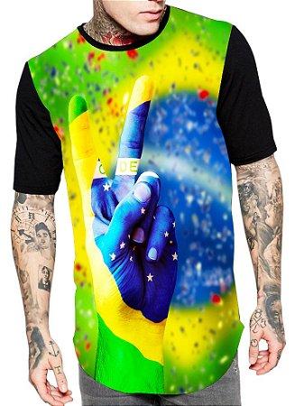 Camiseta Camisa Longline Estampa Full Brasil Paz Amor Copa Unissex