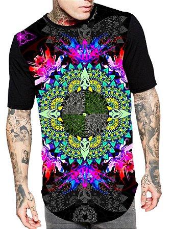 Camiseta Camisa Longline Estampa Full Mandalla Unissex