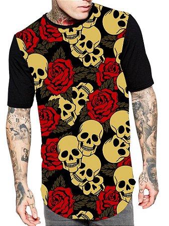 Camiseta Camisa Longline Estampa Full Caveira Rosas Skull Unissex