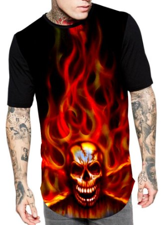 Camiseta Camisa Longline Estampa Full Caveira Skull Fogo Unissex