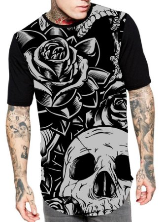 Camiseta Camisa Longline Estampa Full Caveira Skull Unissex