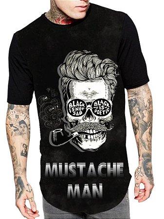 Camiseta Camisa Longline Estampa Full Mustache Man Unissex