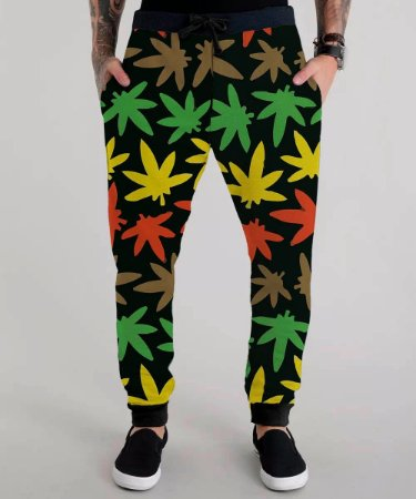 Calça Moletom Masculina Weed Cannabis Erva Marijuana Tumblr