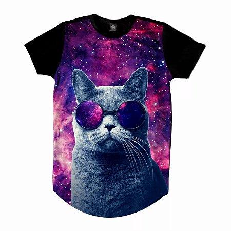 Camiseta Camisa Longline Galaxia Gato Universo Óculos 3d Full