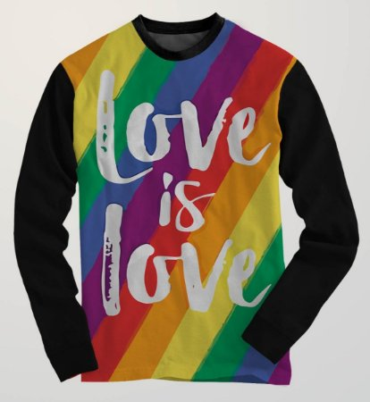81ddcd5bf Blusa Moletom Gola Careca Lgbt Arco-íris Love Is Love Amor Gls Pride