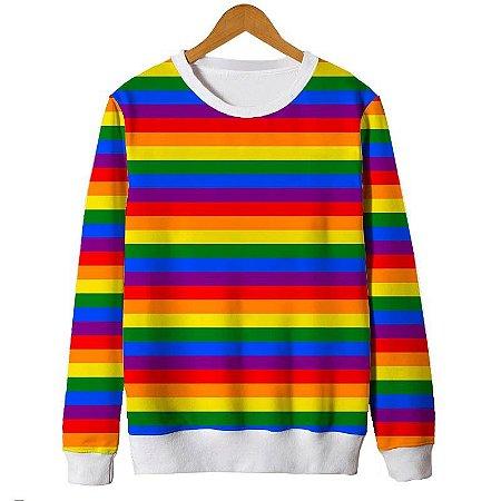 Moletom Gola Careca Blusa Bandeira Lgbt Arco-iris Rainbow Gls Gay