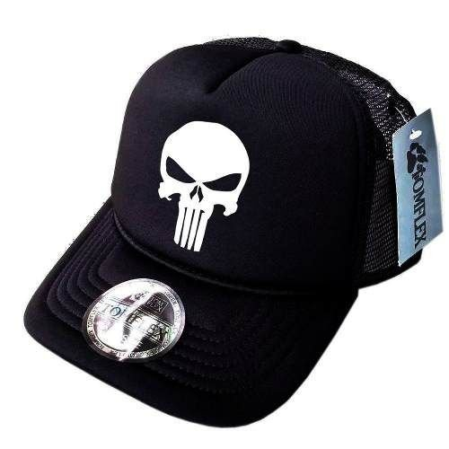 Boné Justiceiro Trucker Tela The Punisher Aba Curva