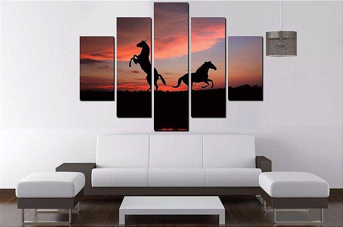 Painel Quadro Mosaico 5 Partes Cavalo 100cmx68cm