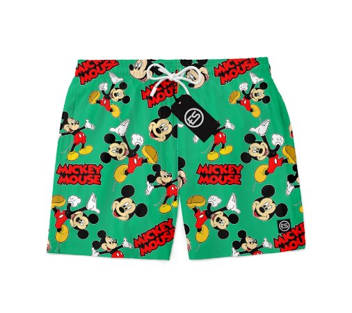 Short Bermuda Ney Moda Praia Mauricinho Personagem Mickey