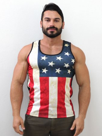 Camiseta Regata Usa Full Print Preto