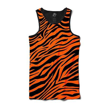 Camiseta Regata Pele De Tigresa Full Print - Laranja e Preto