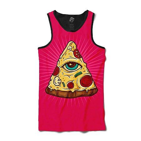 Camiseta  Regata Pizza Illuminati Full Print - Pink e Preto