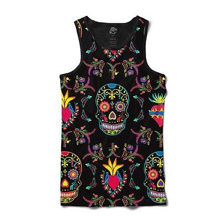 Camiseta Regata Skull Color Print Preto - [BSC]