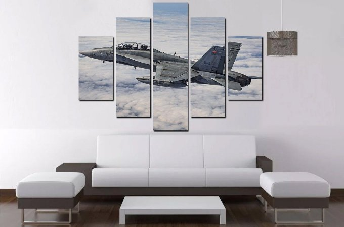 Quadro Mosaico 5 Partes Aviao Militar   - 100 cm x 68 cm