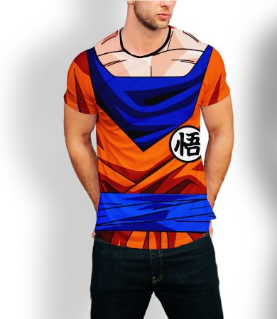 Camiseta Longline Estampa Full Goku