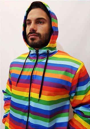 Jaqueta Blusa de Zíper Corta Vento Estampa Full LGBT Arco Iris