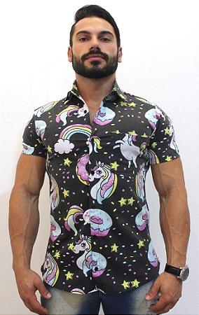 Camisa Floral Unicornio Masculina Social Luxo Lançamento