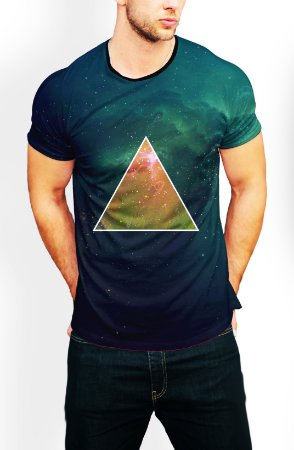 Camiseta Longline Estampa Full Triangulo Tumblr