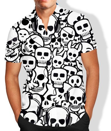 Camisa Caveira Masculina Social Luxo Lançamento