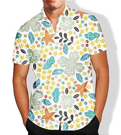 Camisa Floral Praia Masculina Social Luxo Lançamento