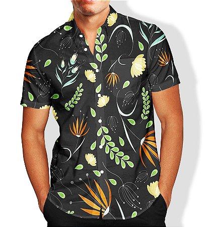 Camisa Masculina Social Luxo Lançamento Estampa Folhagem