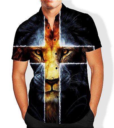 Camisa Masculina Social Luxo Lançamento Estampa Leão Jesus