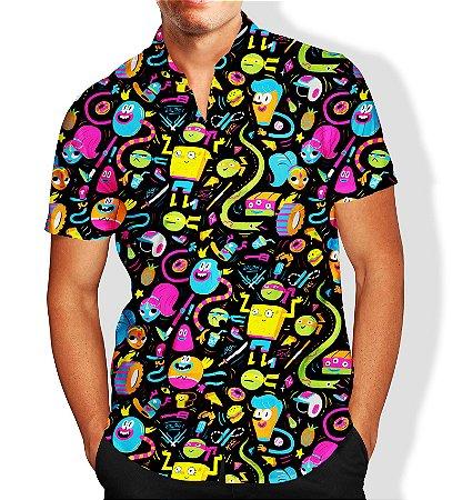 Camisa Masculina Social Luxo Lançamento Estampa Nickelodeon