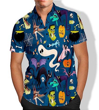 Camisa Masculina Social Luxo Lançamento Estampa Halloween