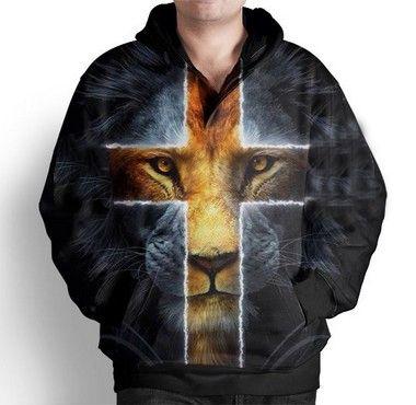 Blusa Moletom Com Capuz Estampa Leão Jesus