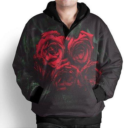 Blusa Moletom Com Capuz Estampa Rosas Vermelhas