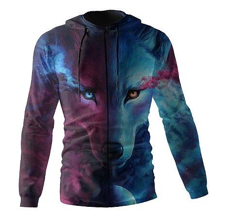 Jaqueta Blusa de Zíper Corta Vento Estampa Full Lobo