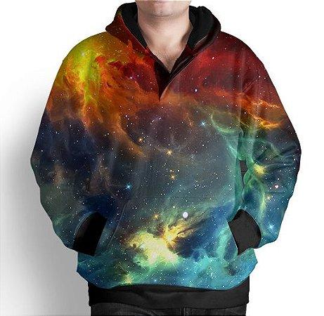 Blusa Moletom Com Capuz Estampa Full Galaxia Nebulosa