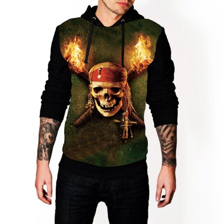 Blusa De Frio Piratas Do Caribe Estampa Full Moletom Unissex