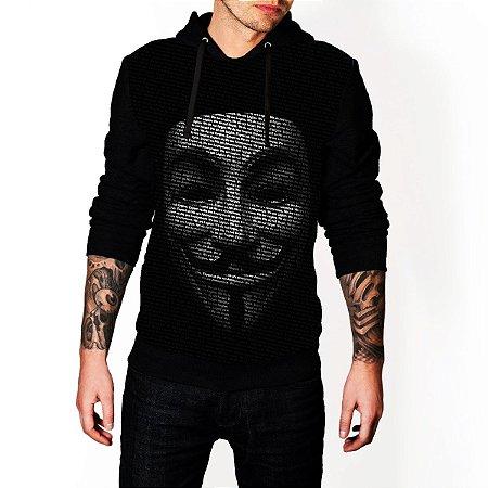 Blusa De Frio Estampa Full Anonymous Moletom Unissex