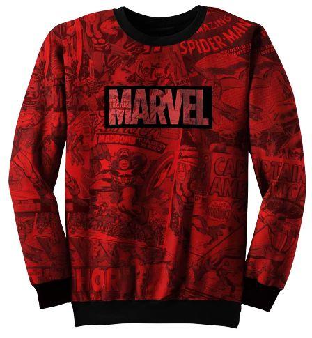 Blusa De Frio Moletom Full Estampado Marvel
