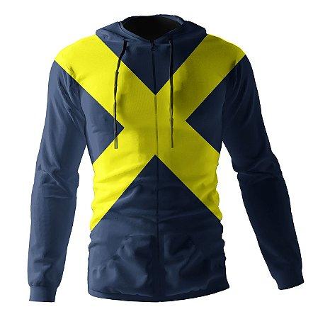 Jaqueta Blusa de Zíper Corta Vento Estampa Full X-Men Fenix Negra