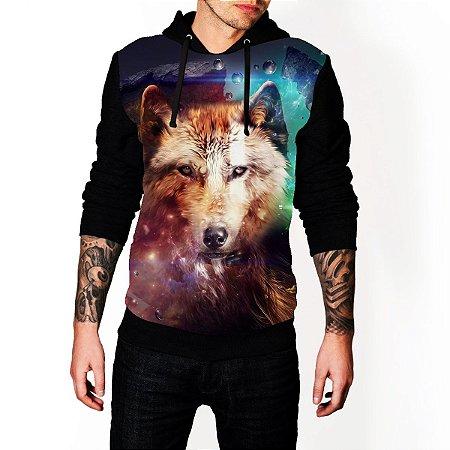 Blusa De Frio Moletom Full Estampado Lobo Galaxia