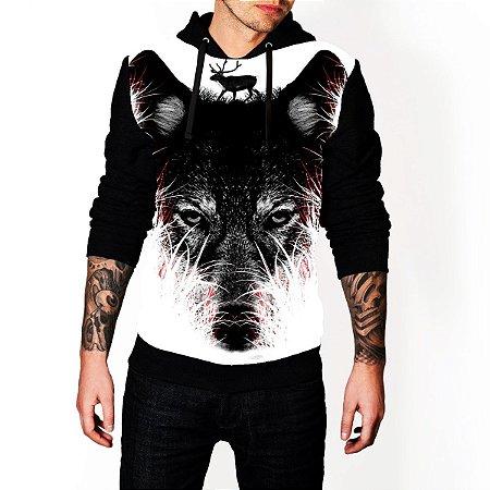 Blusa De Frio Moletom Full Estampado Lobo