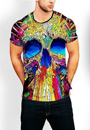 Camiseta Camisa Longline Estampa Psicodélica