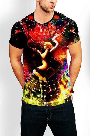 Camiseta Camisa Longline Estampa Céu e Inferno