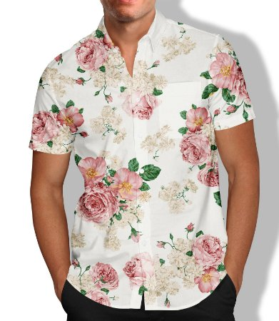 Camisa Masculina Social Floral
