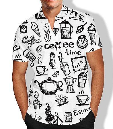 Camisa Masculina Social Coffe Luxo Lançamento