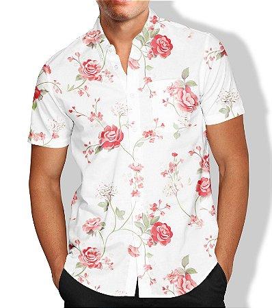 Camisa Masculina Social Flores Luxo Lançamento