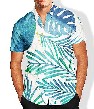 Camisa Masculina Social Estampada Folhas
