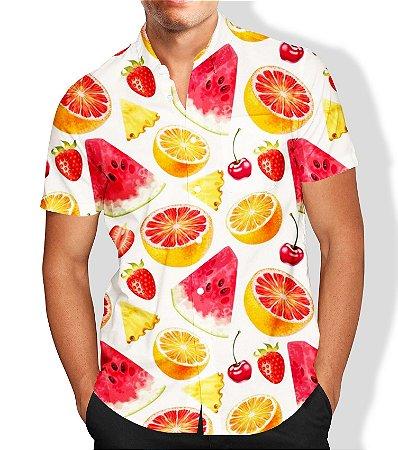 Camisa Social Lançamento Masculina Full Estampada Frutas