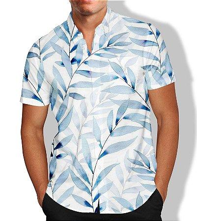 Camisa Social Lançamento Masculina Full Estampada Folhas
