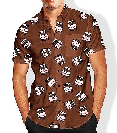 Camisa Social Lançamento Masculina Full Estampada Nutella